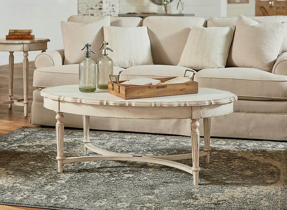 Magnolia Home French Inspired Pie Crust Coffee Table   White 051500
