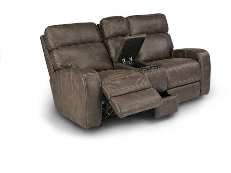 Flexsteel Living Room Tomkins Power Gliding Console Loveseat 052829 ...