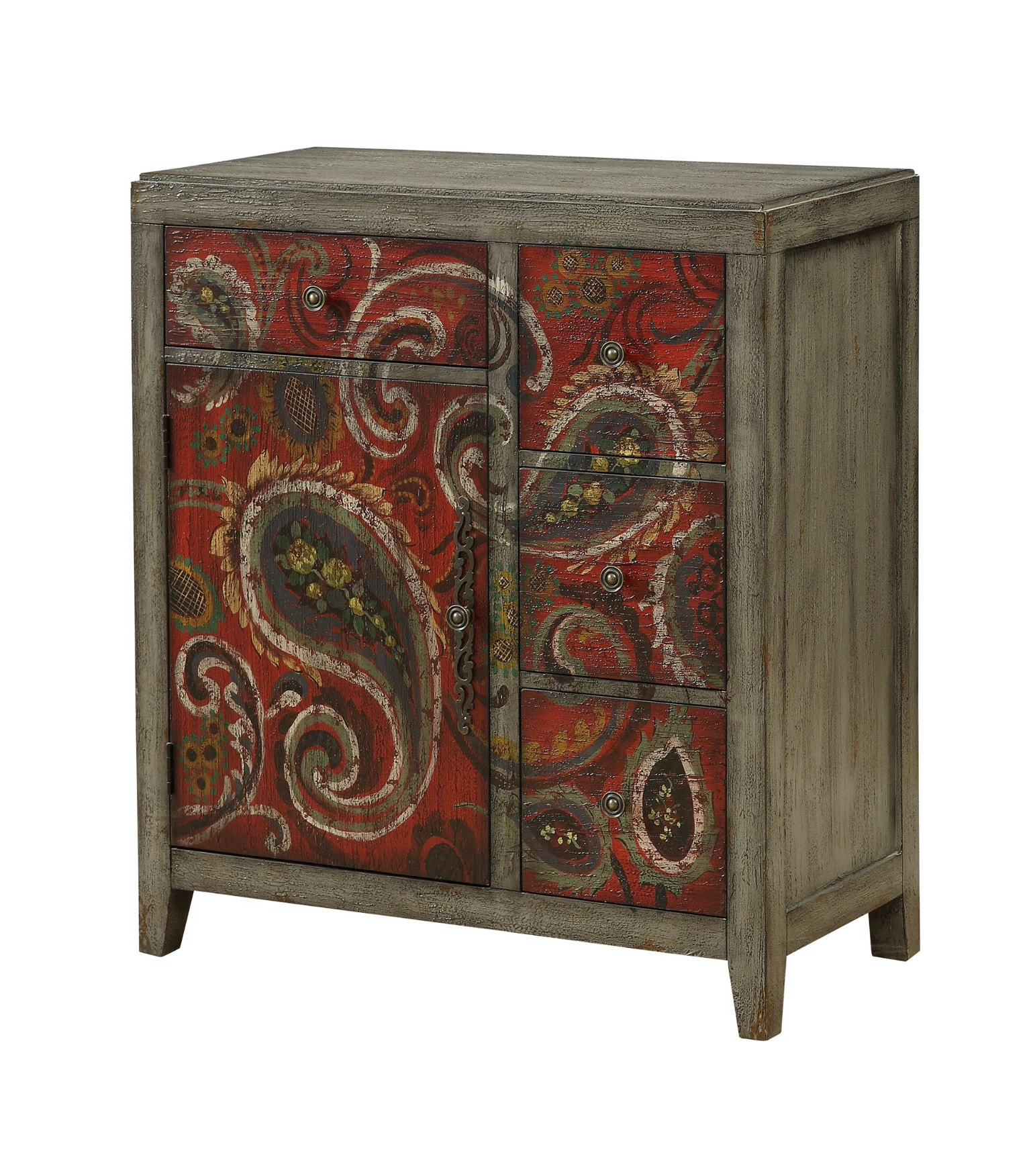 The Paisley Red Accent Cabinet Is Sure To Start A Conversation. Great  Storage Options With Drawers And A Door To Make Organized Storage Simple.