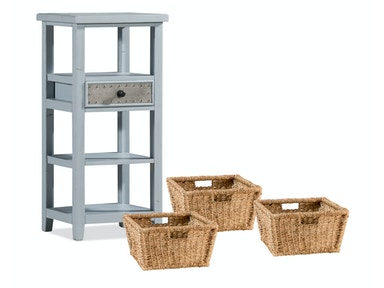Three Basket Stand with Metal Accented Drawer - Taupe 055772