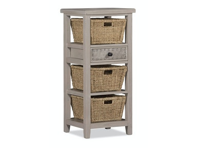Three Basket Stand with Metal Accented Drawer - Smoke 055773