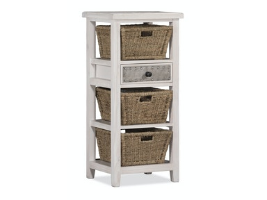 Three Basket Stand with Metal Accented Drawer - Frost 055774