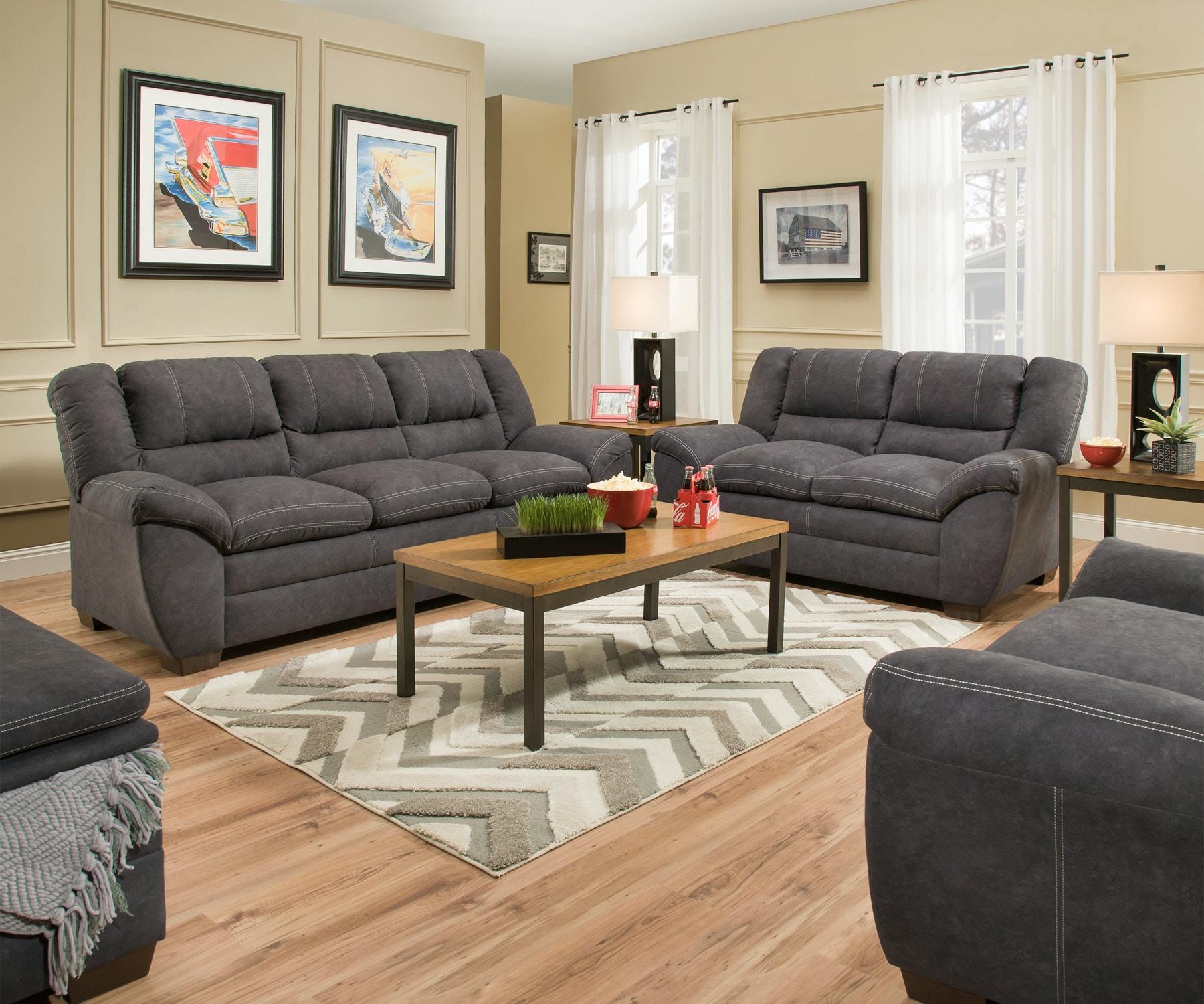 Simmons Upholstery Palermo Charcoal Sofa 056832