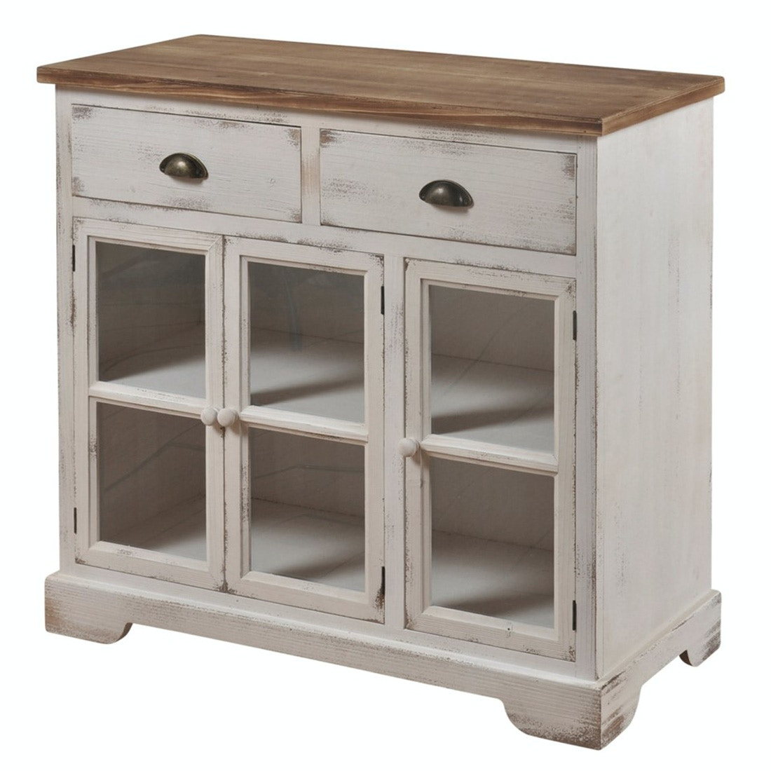Awesome Shabby Chic Three Door, Two Drawer Cabinet With Window Pane, Tempered Clear  Glass Door Panels. White With Brown Top. Window Pane Cabinet 057722  Stylecraft ...