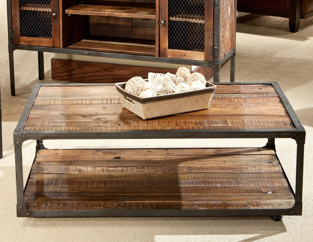 laramie features a solid magazine shelves casters for easy mobility and is designed with a rustic industrial touch to add character to any home setting - Home Furnishing Magazine