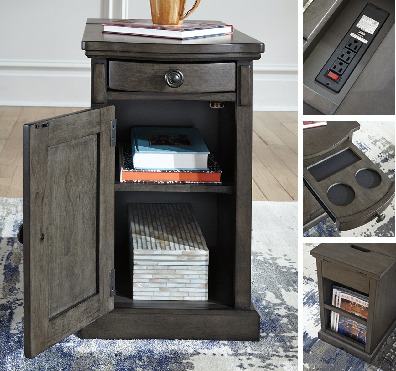 Signature Design By Ashley Laflorn Power Side Table   Grey 058369