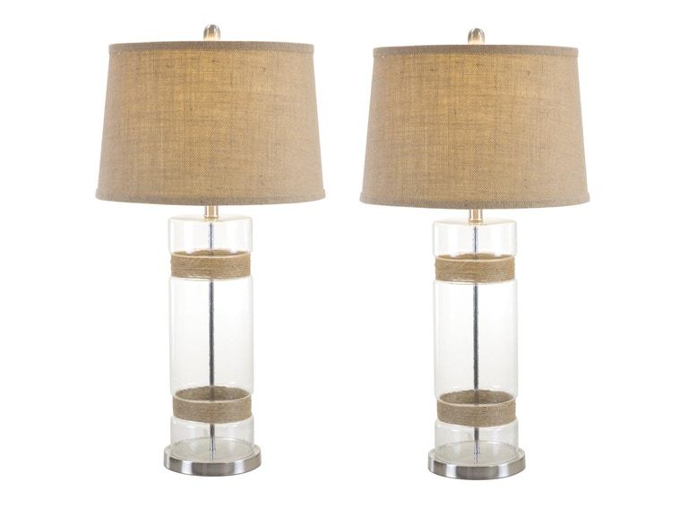 Anthony California, Inc. Twine & Glass Table Lamps - Set of 2 102620