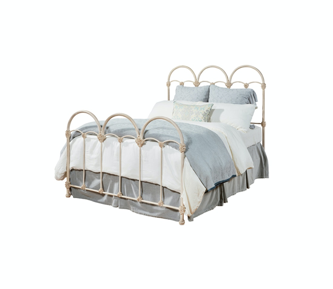 Magnolia Home Bedroom French Inspired Rosette Iron Bed