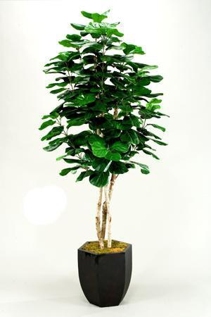 Du0026W Silks Fiddle Leaf Fig Tree In Metal Planter 044930