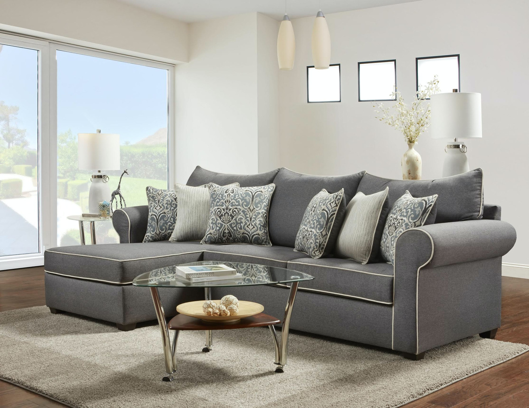 Washington Living Room Jitterbug Left Chaise Sectional 144309  ~ Sofa With Chaise Sectional