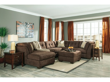Delta City Left Chaise Sectional with Ottoman - Chocolate 146658