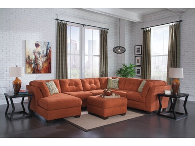 Delta City Left Chaise Sectional with Ottoman - Rust 191537