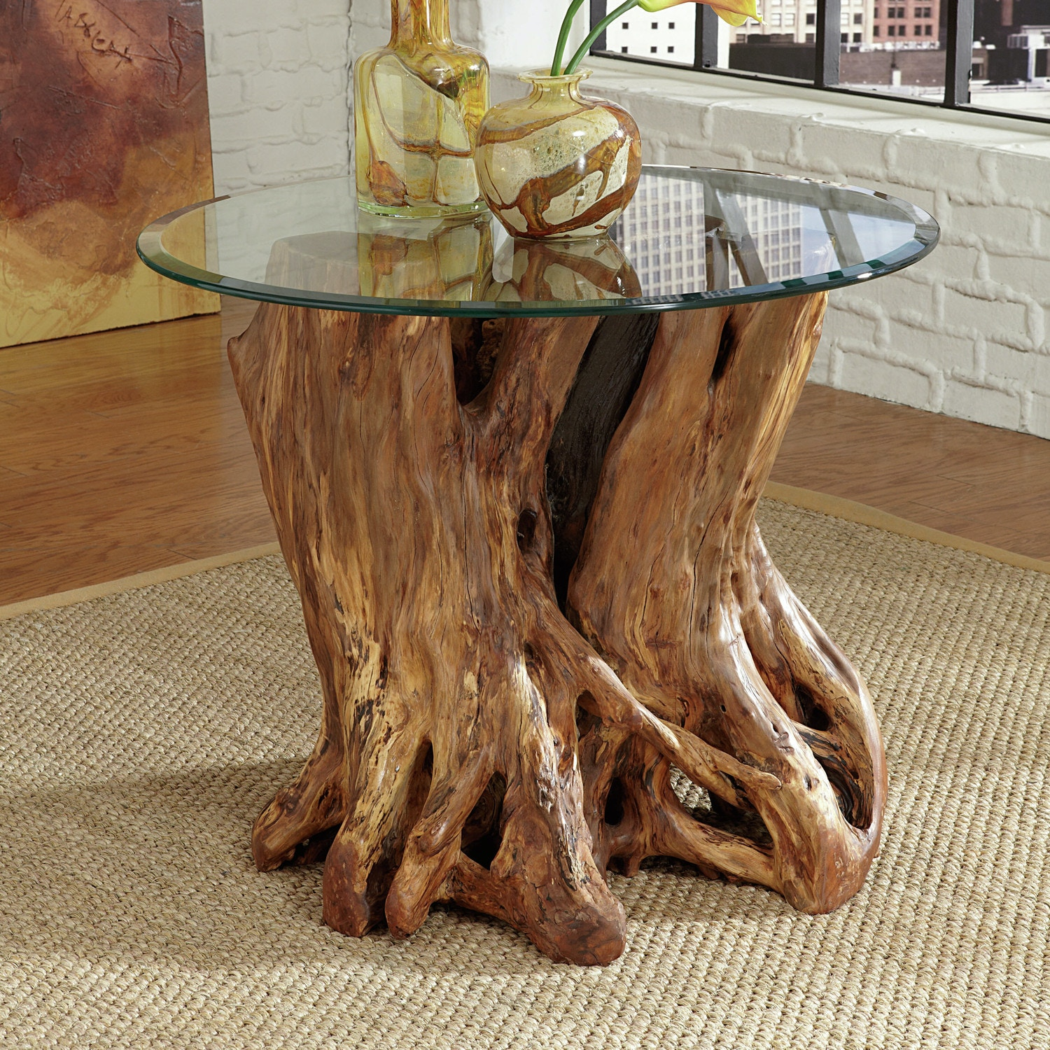 Hammary living room rootball end table 208988 furniture for Muebles con troncos