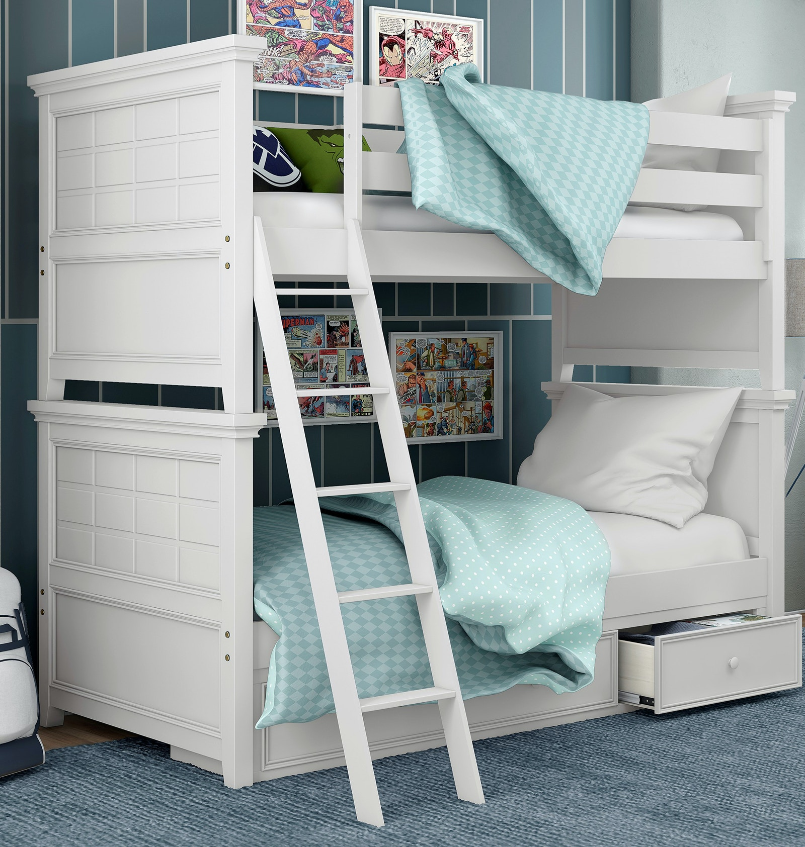My Home Furnishings Youth Bailey White Bunk Bed - Full over Full ...