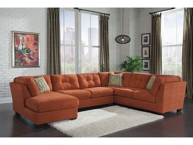 Delta City Left Chaise Sectional - Rust 308811