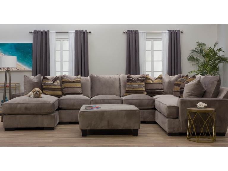 Michael Nicholas Designs Living Room Serendipity Right Chaise Sectional With Ottoman 813923
