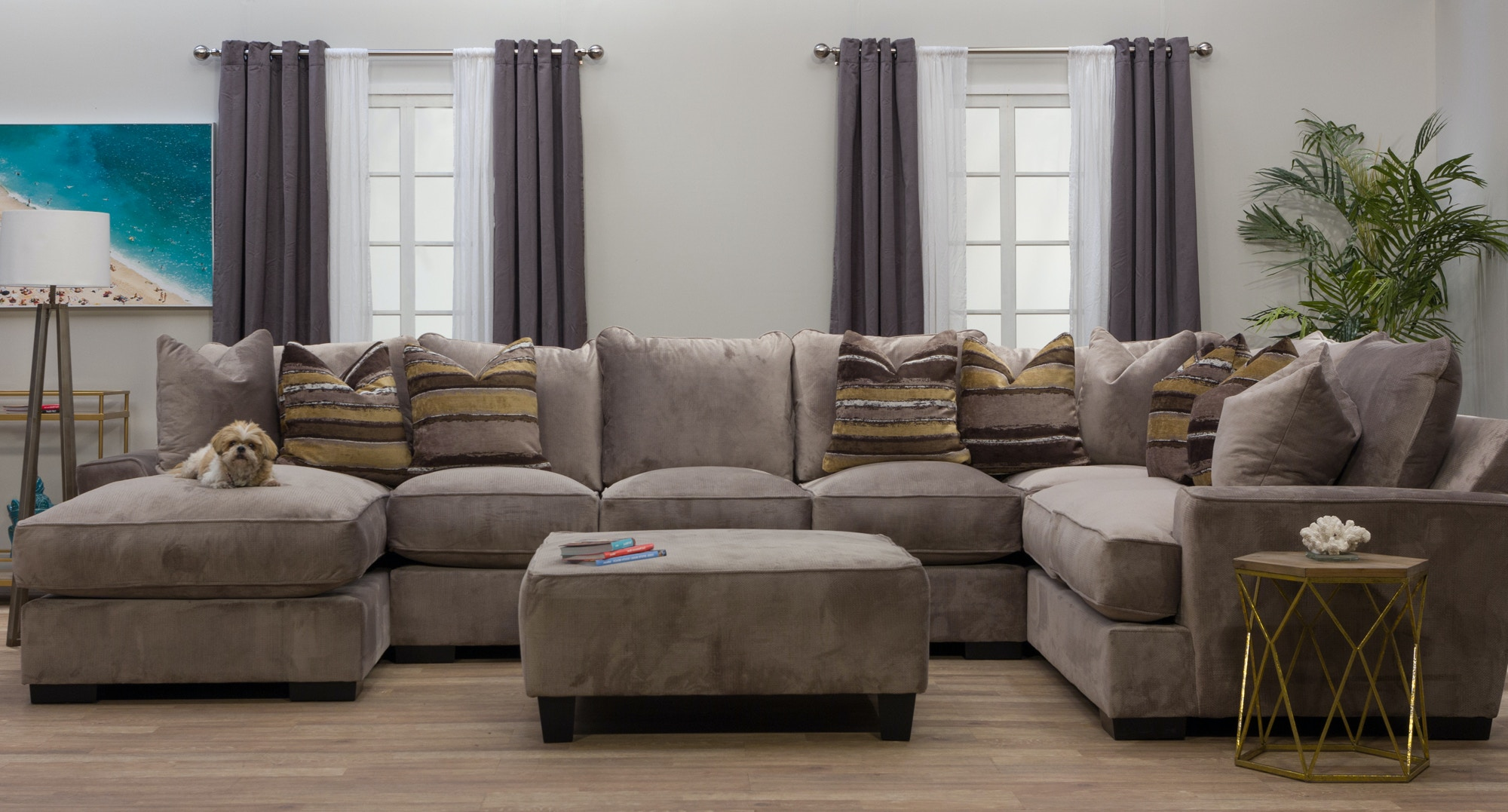 Chaise Sectional With Ottoman Alliston Durablend Chocolate 2 Pc