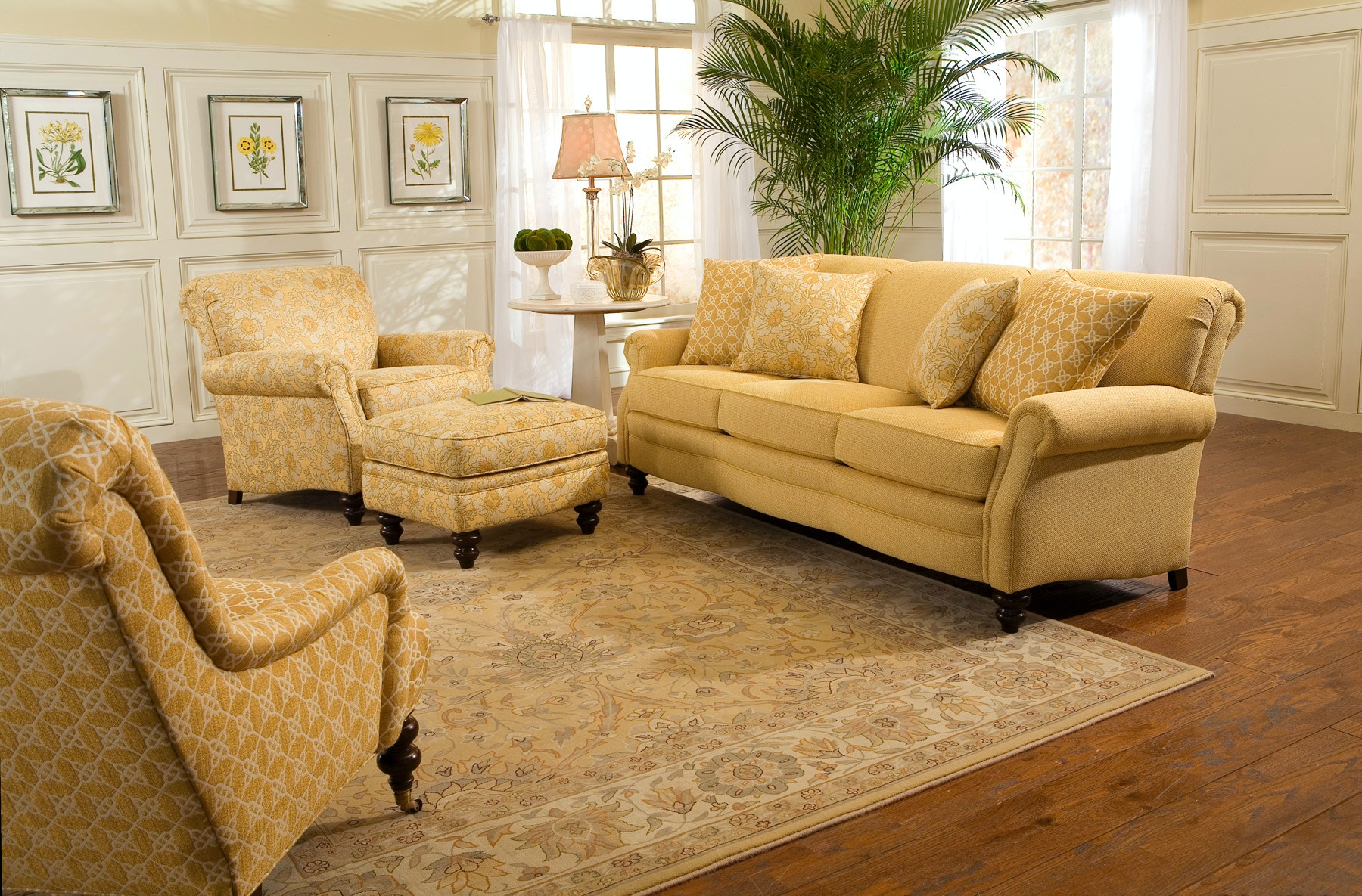 Smith Brothers Living Room Scroll Back Sofa Furniture