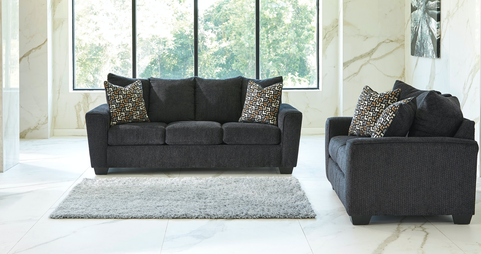 Signature Design By Ashley Wixon Sofa And Loveseat   Slate 422891 Part 75