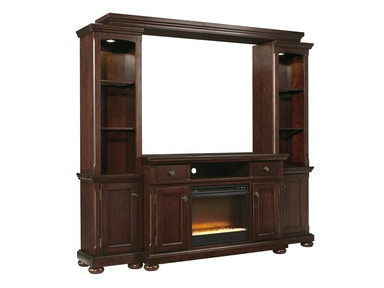Porter Entertainment Wall with Fireplace Insert 425676