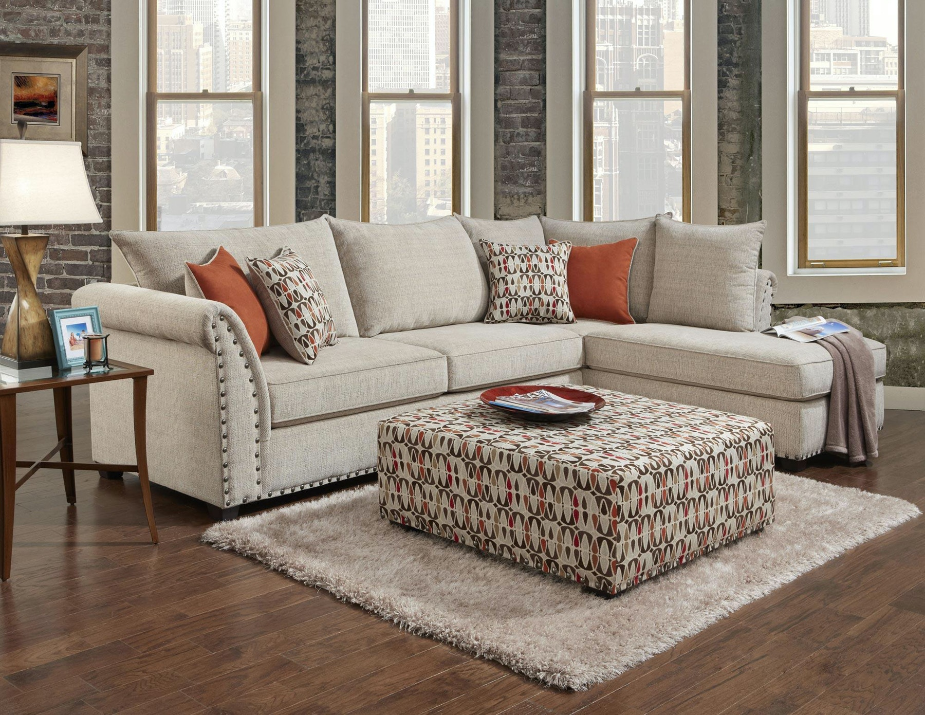 Washington Patton Beige Sectional With Ottoman 484252