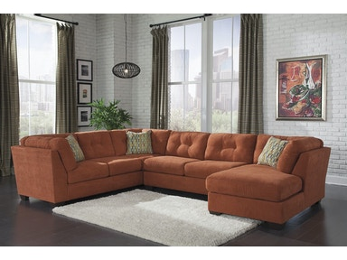 Delta City Right Chaise Sectional - Rust 515269