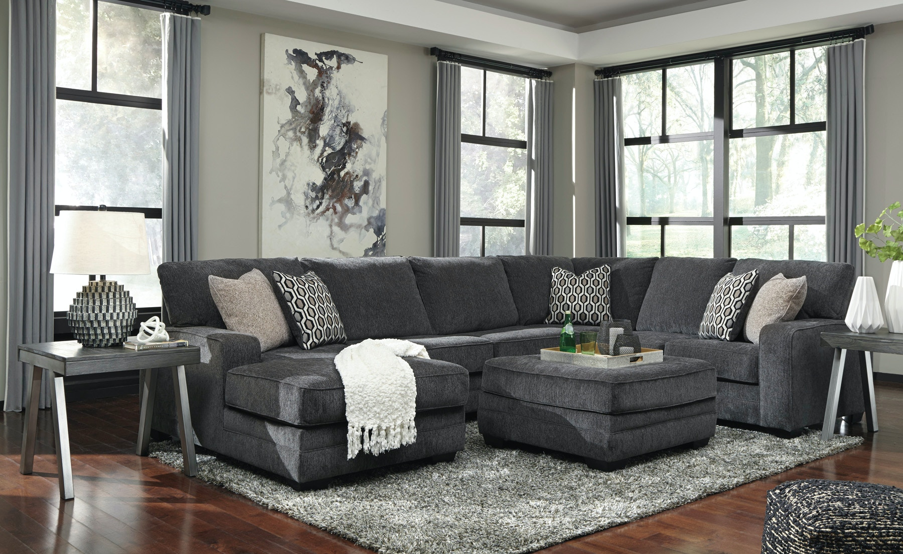 Signature Design By Ashley Living Room Tracling Left Chaise  ~ Sofa With Chaise Ottoman