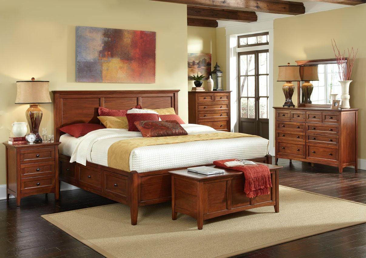 a america westlake cherry storage bedroom group king 539402