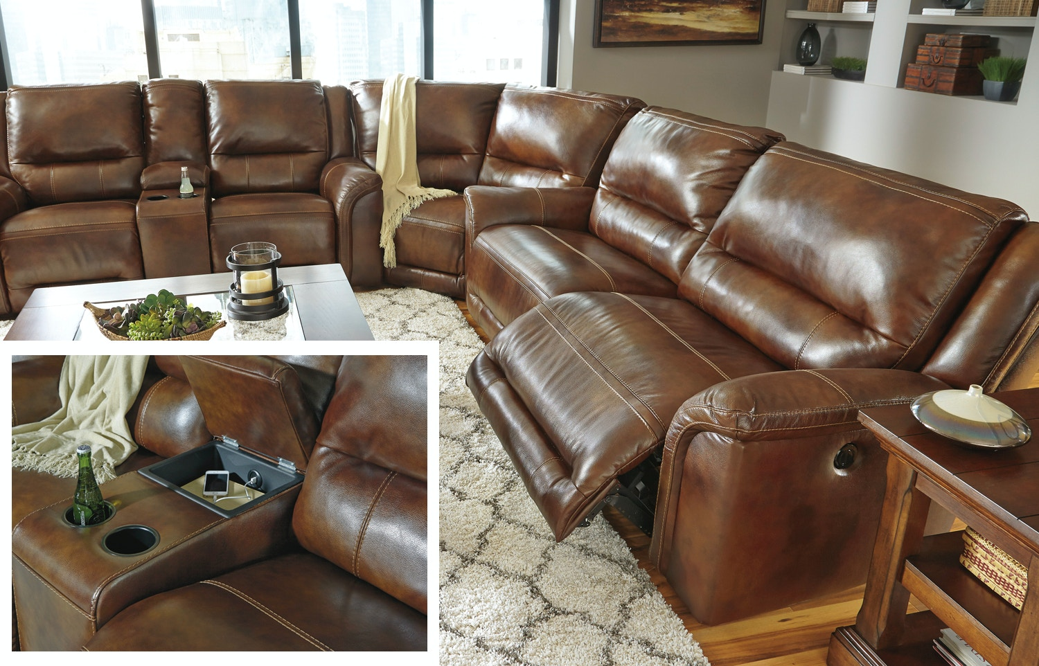 Signature Design By Ashley Living Room Jayron Power Reclining Sectional 565563 Furniture Fair