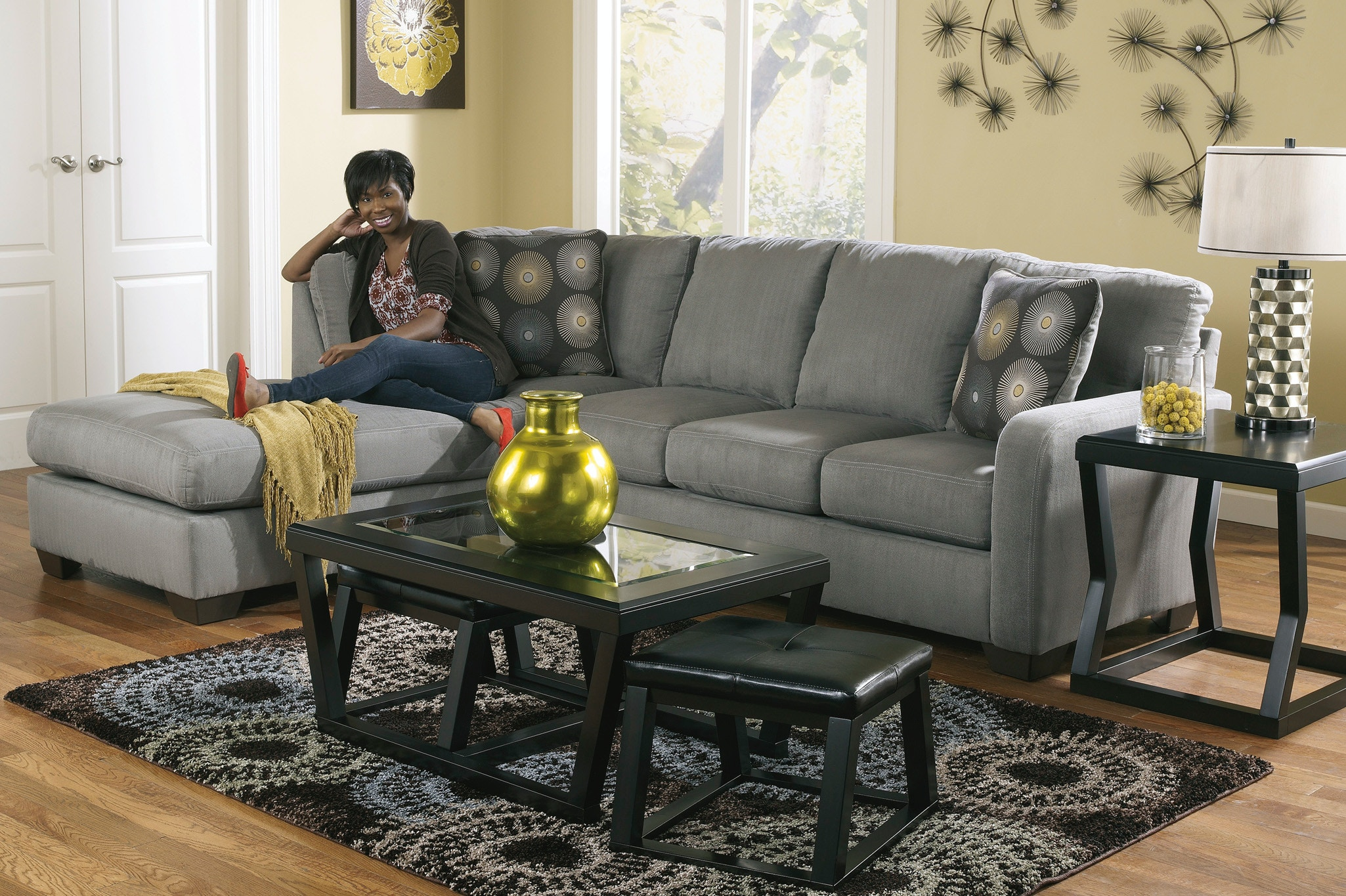 Signature Design by Ashley Living Room Zella Charcoal Left Chaise
