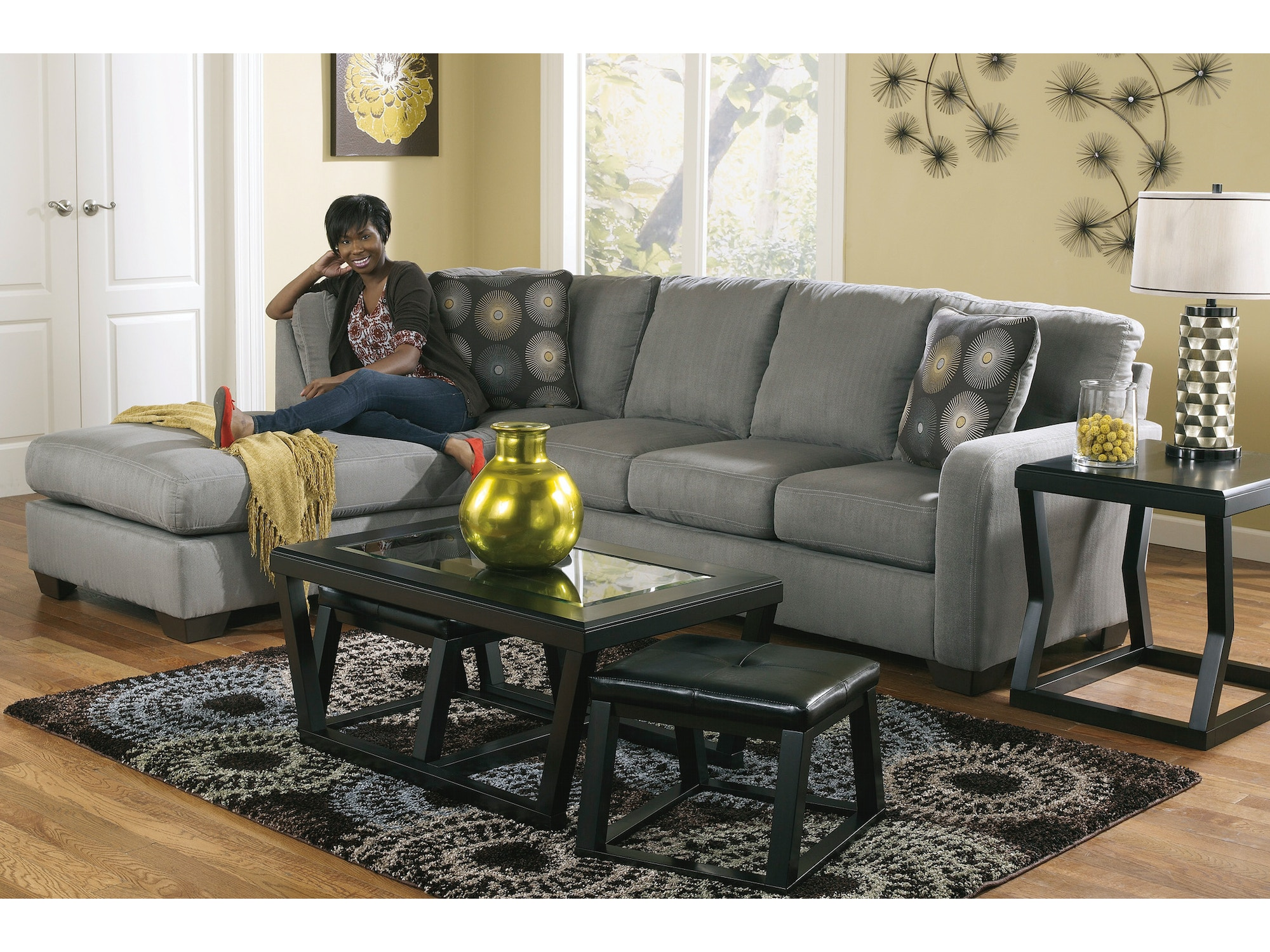 Zella Charcoal Left Chaise Sectional 582225