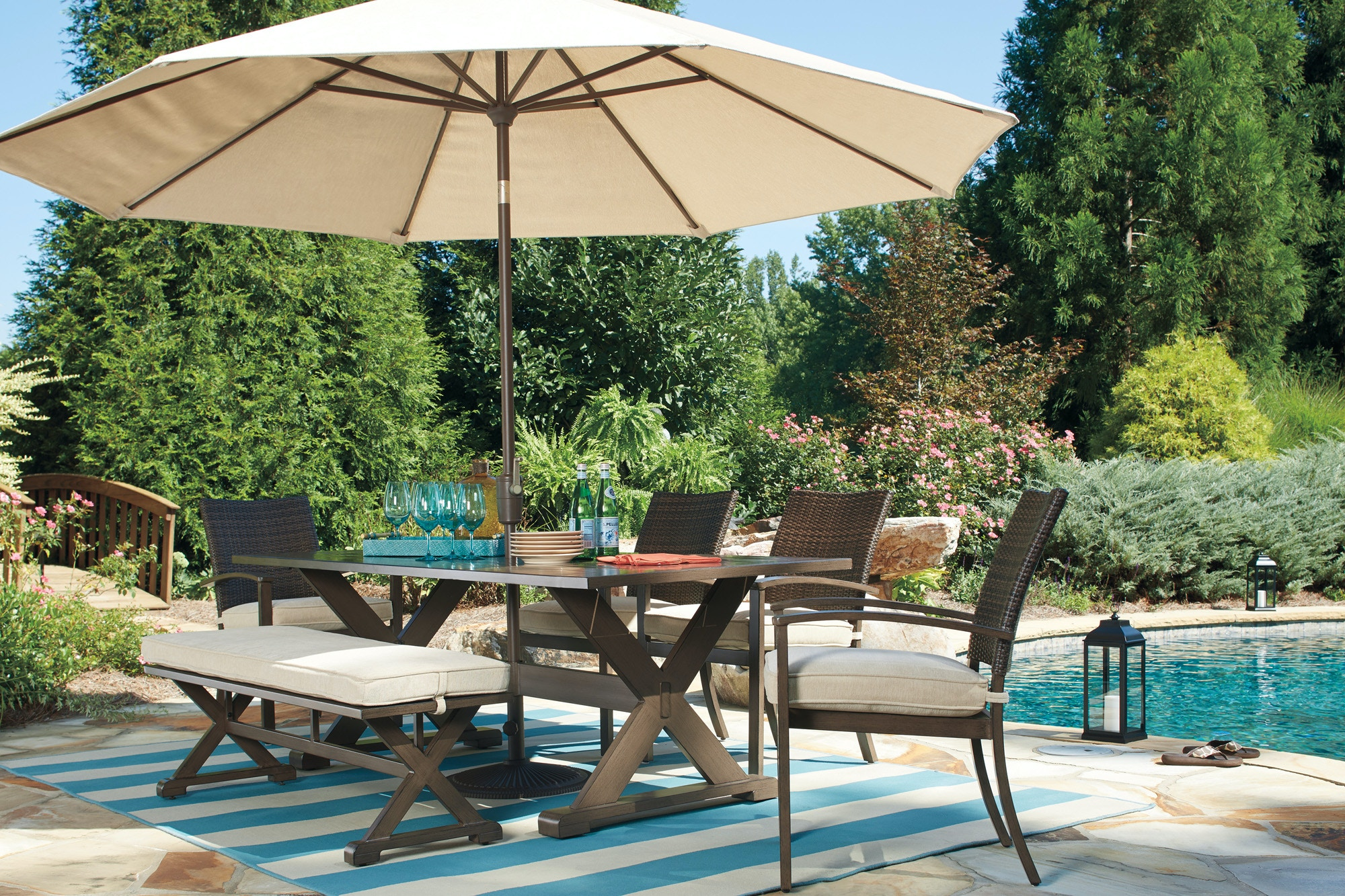 Signature Design by Ashley Outdoor Patio Moresdale Bench Dining