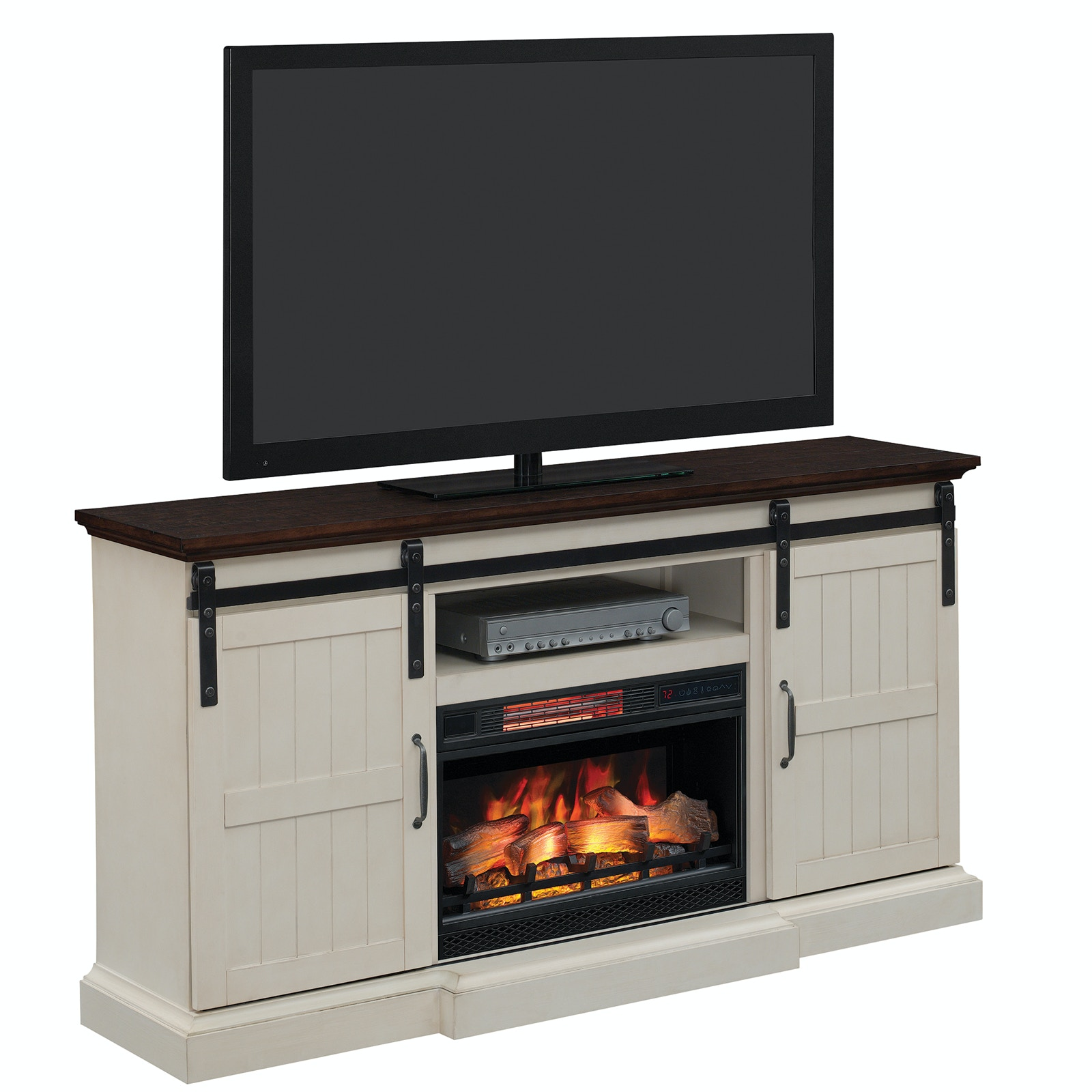 Twin Star International Accessories Weathered White Tv Stand With Fireplace Insert 618845
