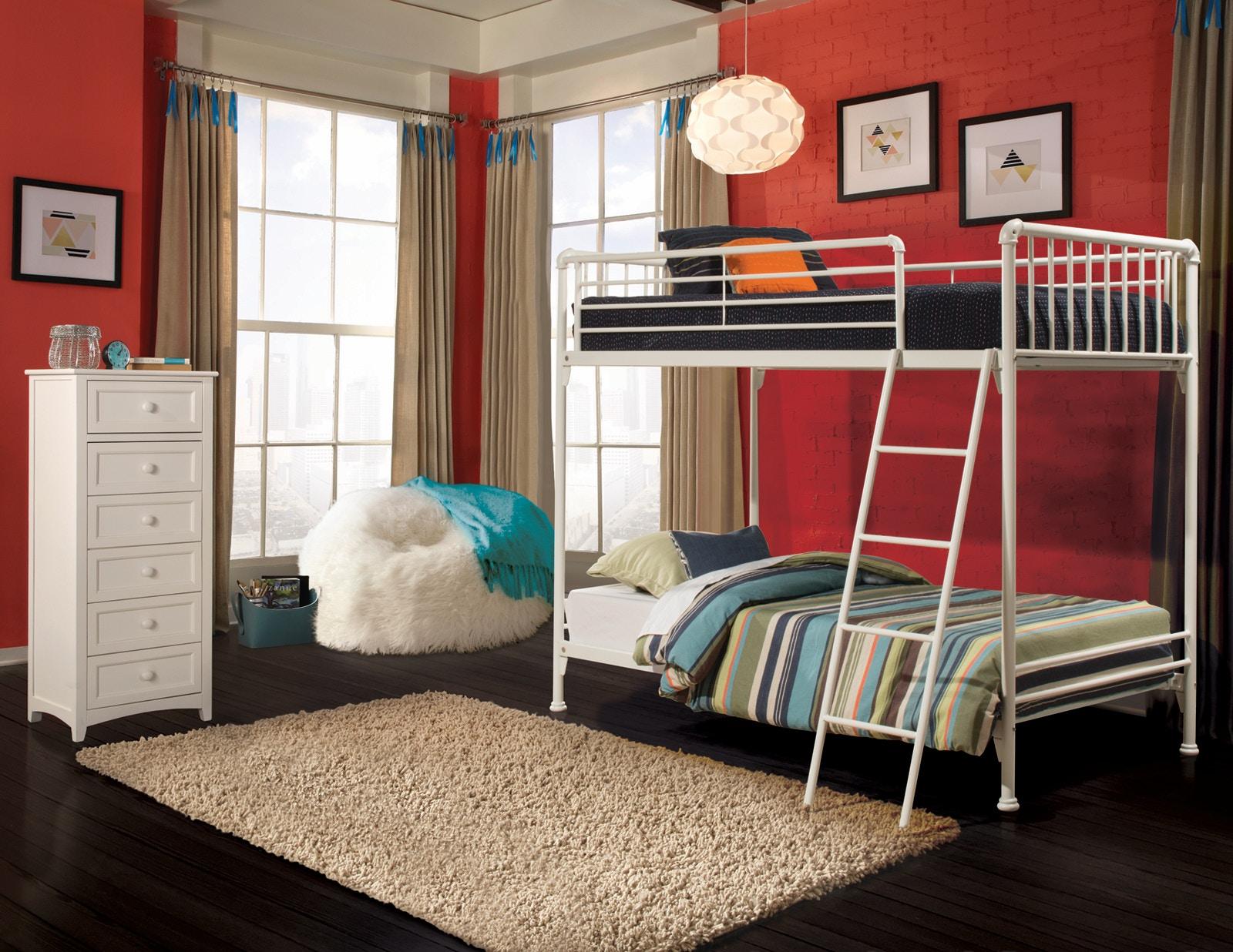 NE Kids Youth Brandi White Bunk Bed - Twin over Twin 650956 ...