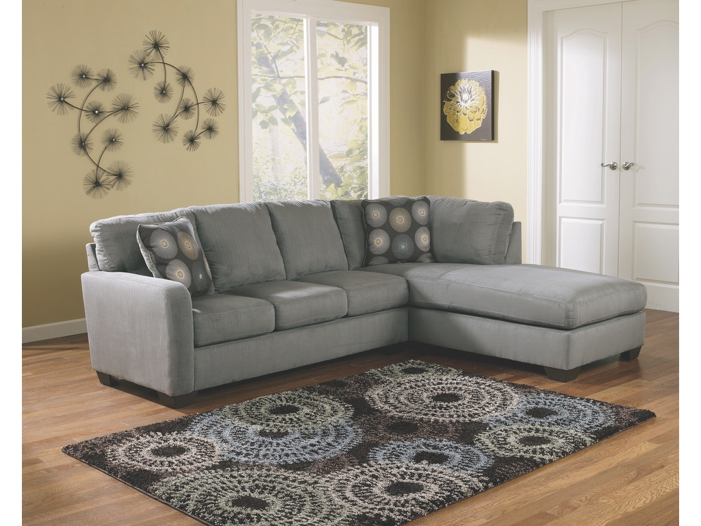 Living Room Chaise Signature Design By Ashley Living Room Zella Charcoal Right Chaise