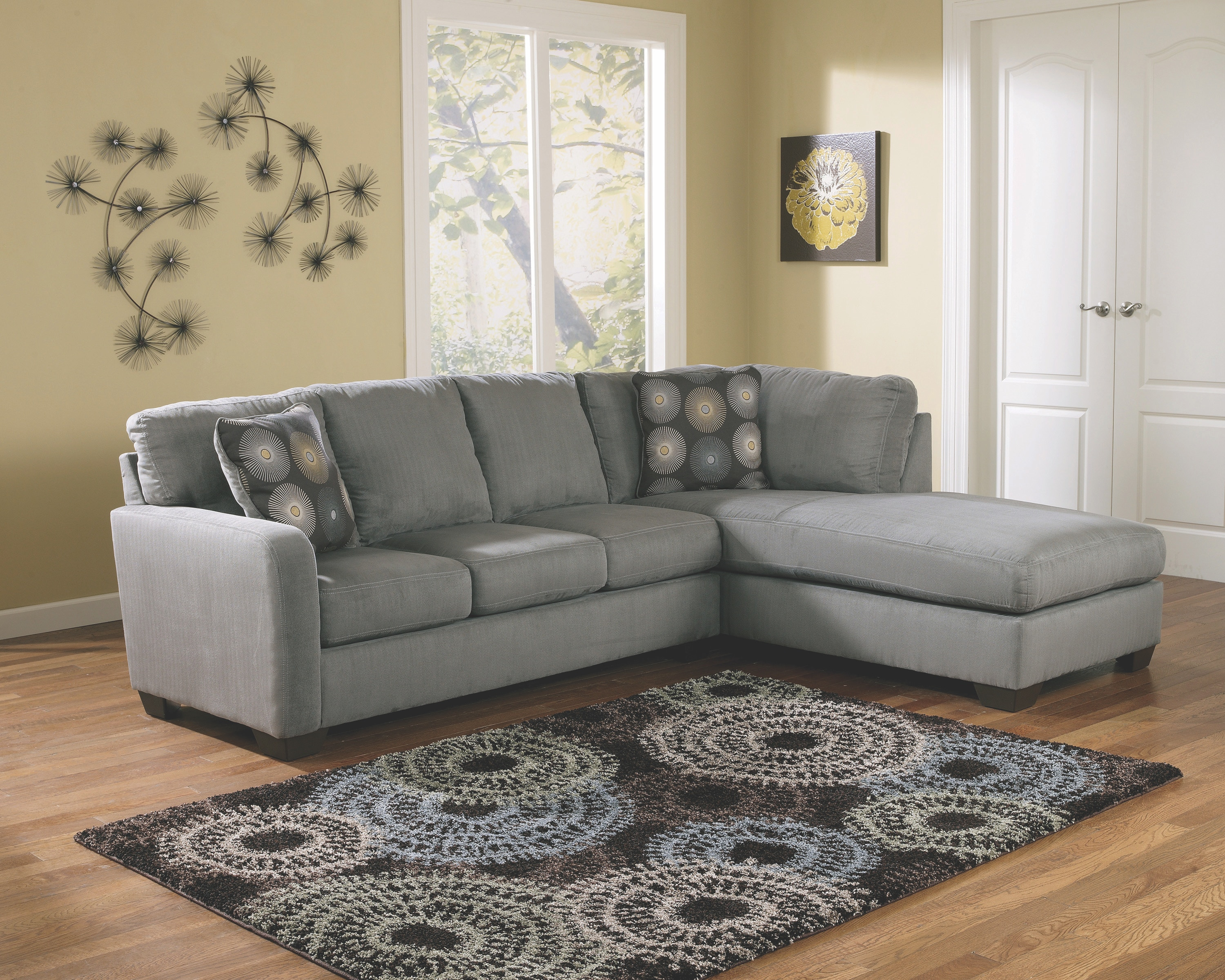 Signature Design by Ashley Zella Charcoal Right Chaise Sectional 275120 : signature sectional - Sectionals, Sofas & Couches