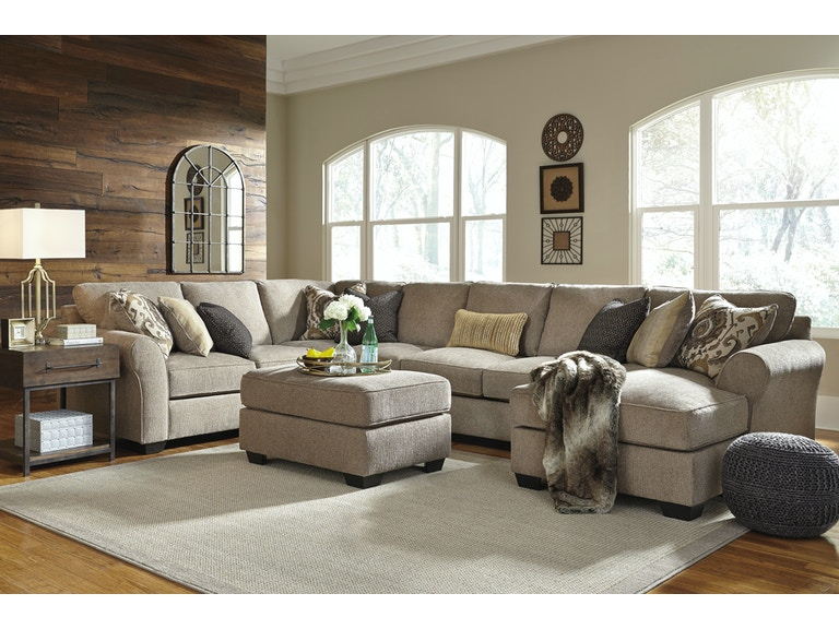 Signature design by ashley living room pantomine right for Ashley sectional sofa with ottoman