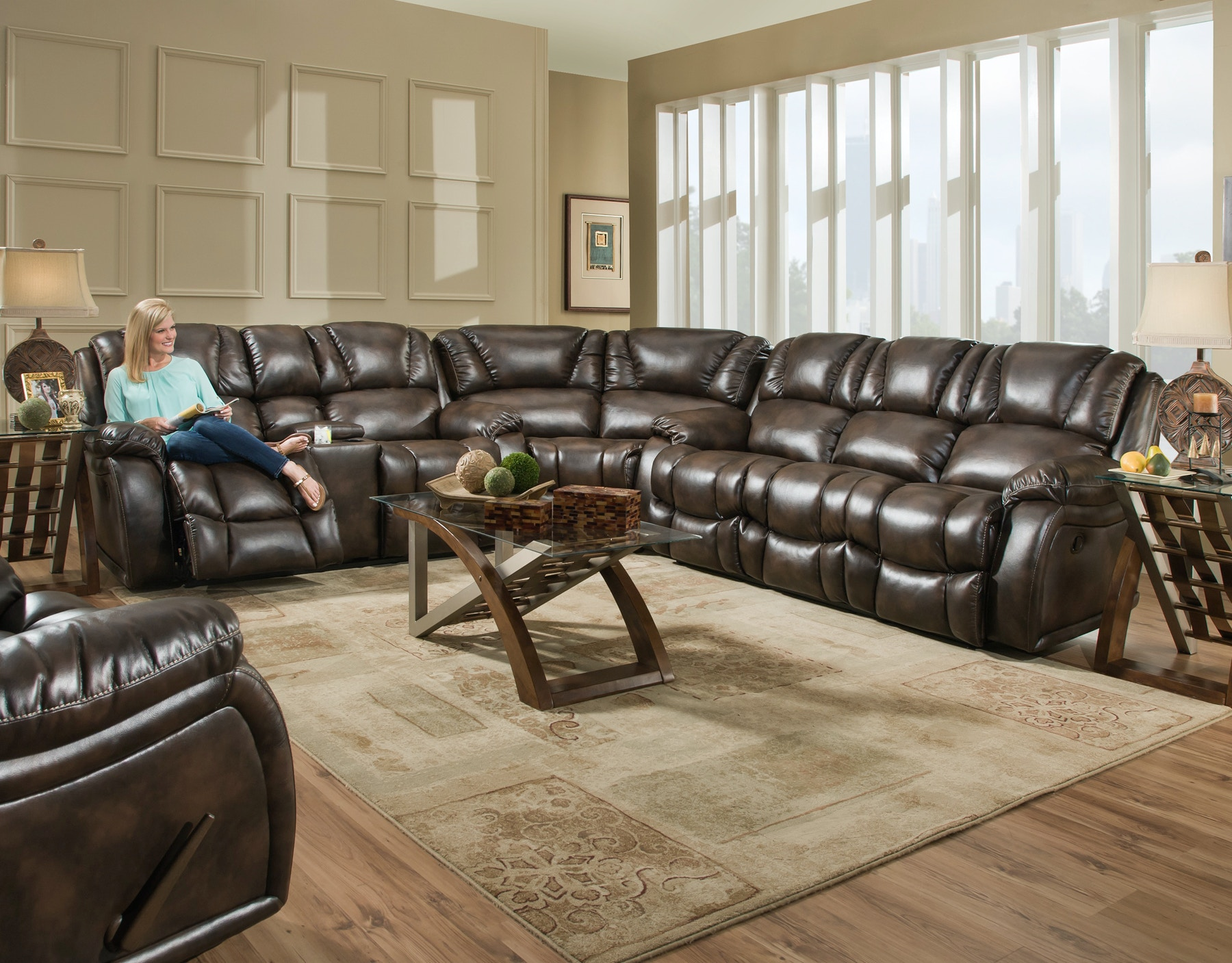 Home Stretch Living Room Brahma Reclining Sectional