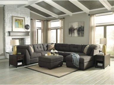 Delta City Right Chaise Sectional with Ottoman - Steel 880806