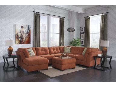 Delta City Right Chaise Sectional with Ottoman - Rust 944205