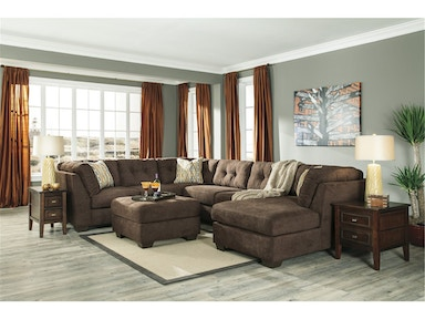 Delta City Right Chaise Sectional with Ottoman - Chocolate 966062