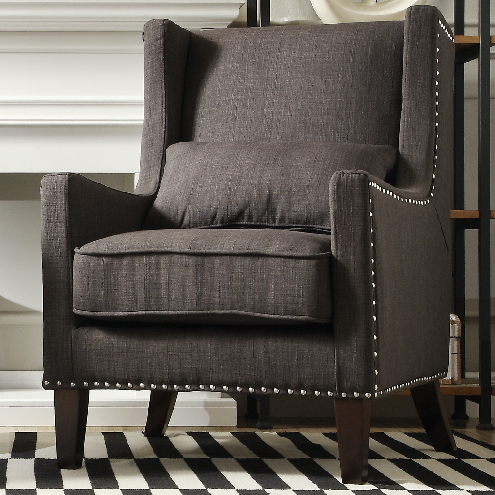 Homelegance Wing Back Accent Chair   Dark Grey Linen CLS419