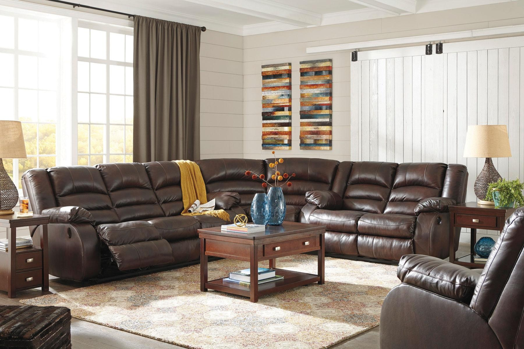 Signature Design By Ashley Levelland Reclining Sectional With Rocker  Recliner CLS433
