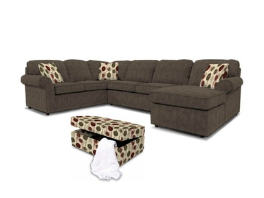Malibu Left Chaise Sectional with Ottoman 041744