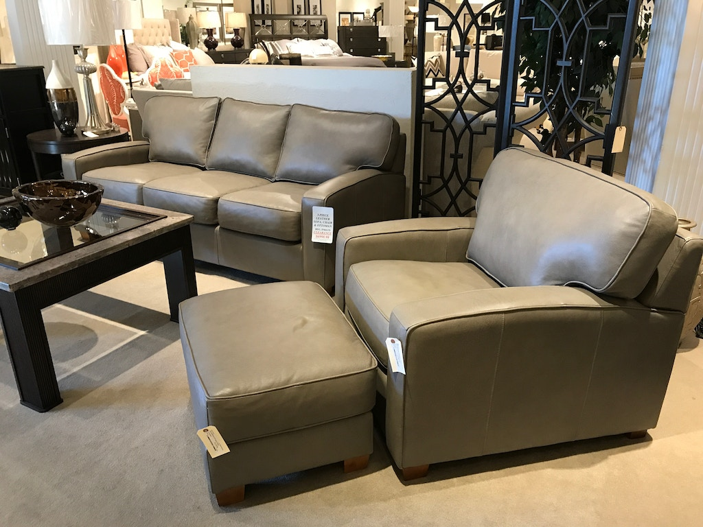 3 Piece Leather Sofa, Chair & Ottoman