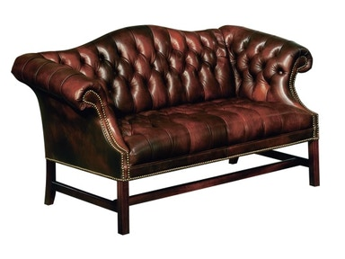 Classic Leather Tufted Chippendale Loveseat 286