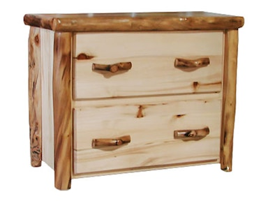 Rustic Log 2 Drawer File Cabinet in Flat Front (39W) in Natural Panel & Natural Log 2DFF-39-NN