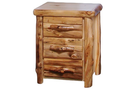 Attirant Rustic Log 3 Drawer Night Stand In Log Front (24W) In Natural Panel U0026