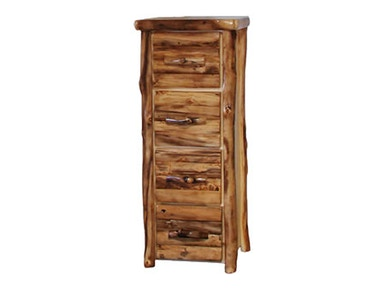 Rustic Log 4 Drawer File Cabinet in Log Front (24W) in Natural Panel & Natural Log 4DFL-24-NN