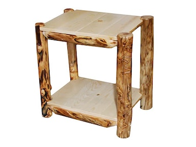 Rustic Log Alpine End Table (24W) in Natural Panel & Gnarly Log AETA-24-NG